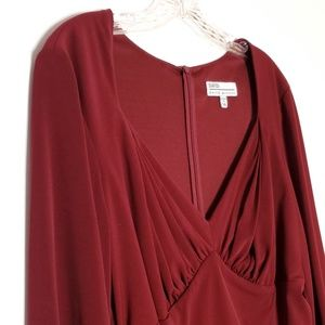 David Meister Red Long Sleeve Gathered Dress 14